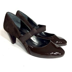 DKNY Women's Brown Leather Suede Heels Shoes